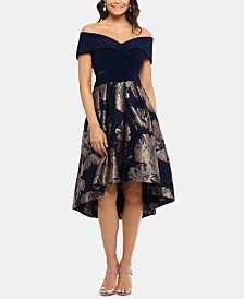 Xscape Petite Off-The-Shoulder Contrast Floral Dress