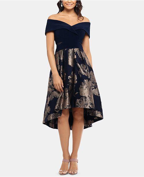 XSCAPE Petite Off-The-Shoulder Contrast Floral Dress