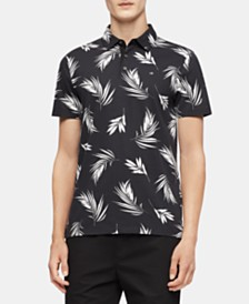 Calvin Klein Men's Palm Print Motif Polo