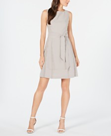 Anne Klein Sleeveless Seersucker Fit & Flare Dress