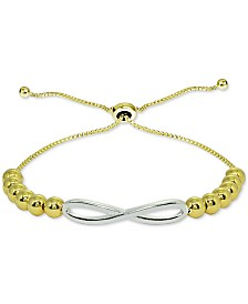 Giani Bernini Two-Tone Beaded Infinity Bolo Bracelet in Sterling Silver & 18k Gold-Plate, Created for Macy's