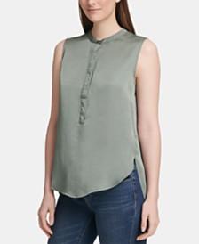 DKNY Sleeveless Button-Up Top