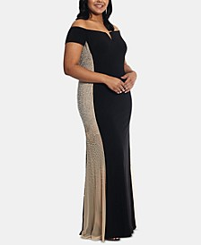 Plus Size Embellished Off-The-Shoulder Gown