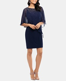 XSCAPE Studded Chiffon-Overlay Dress
