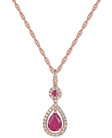 Certified Ruby (1-1/4 ct. t.w.) and Diamond (1/3 ct. t.w.) Pendant Necklace in 14k Rose Gold (Also Available In Tanzanite)