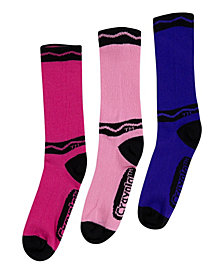 Crayola Multi-Color Crayon Crew Socks (Assorted 3 Pack)