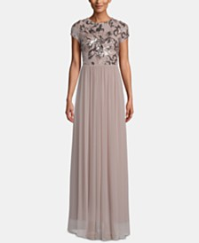 Betsy & Adam Sequined Chiffon Gown