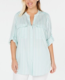 Calvin Klein Plus Size Floral-Print Utility Shirt