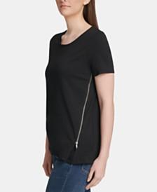 DKNY Crewneck Zipper-Trim Top