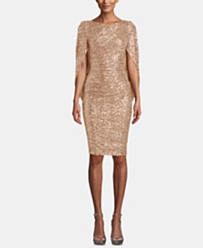 Betsy & Adam Sequin Draped-Sleeve Dress