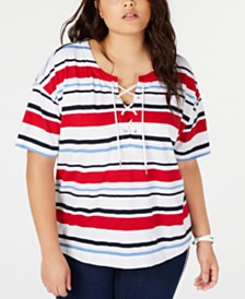 Tommy Hilfiger Plus Size Cotton Lace-Up Top