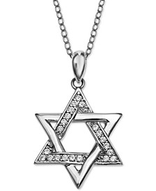"Cubic Zirconia Star of David 18"" Pendant Necklace, Created for Macy's"