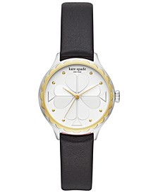Women's Rosebank Black Leather Strap Watch 32mm