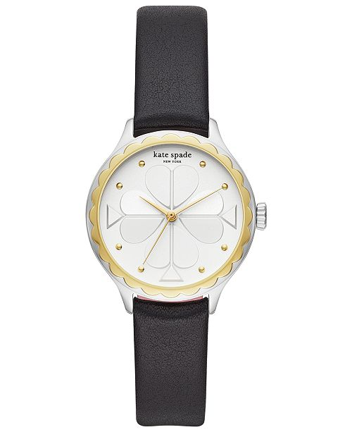 kate spade new york Women's Rosebank Black Leather Strap Watch 32mm