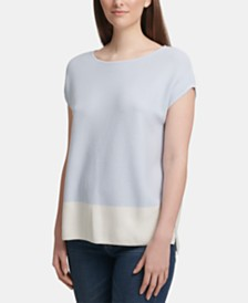 DKNY Colorblock Cap-Sleeve Top