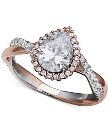 Cubic Zirconia Two Tone Ring in 18k Rose Gold Over Sterling Silver and Sterling Silver, Created for Macy's