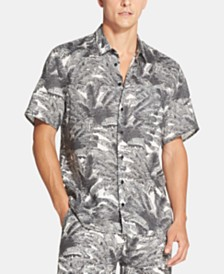 DKNY Men's Regular-Fit Palm-Print Linen Shirt