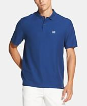 a059b260 DKNY Men's Regular-Fit Stretch Moisture-Wicking Stripe Logo-Print Polo