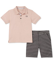 Calvin Klein Little Boys 2-Pc. Textured Logo Polo & Yarn-Dyed Stripe Oxford Shorts Set