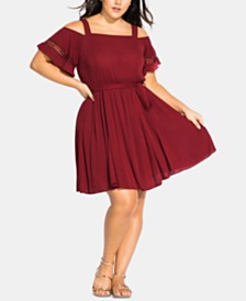 City Chic Trendy Plus Size Crochet-Trimmed Fit & Flare Dress