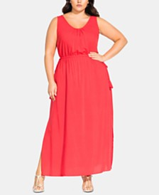 City Chic Sleeveless Drawstring Maxi Dress
