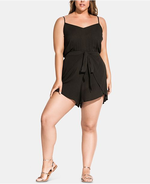 City Chic Plus Size Belted Romper
