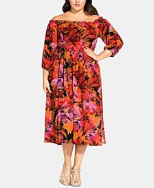 Trendy Plus Size Sunrise Off-The-Shoulder Dress