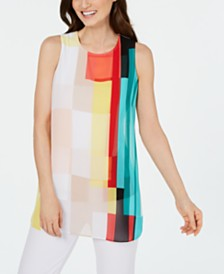 Alfani Painterly-Print Colorblocked Tunic, Created For Macy's