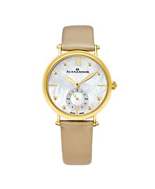 Alexander Watch A201-02, Ladies Quartz Small-Second Watch with Yellow Gold Tone Stainless Steel Case on Gold Satin Strap