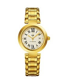 Alexander Watch A203B-03, Ladies Quartz Date Watch with Yellow Gold Tone Stainless Steel Case on Yellow Gold Tone Stainless Steel Bracelet
