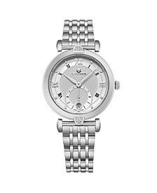 Alexander Watch AD202B-01, Ladies Quartz Small-Second Date Watch with Stainless Steel Case on Stainless Steel Bracelet