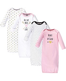 Cotton Gowns, 4 Pack, 0-6 Months
