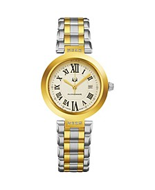Alexander Watch AD203B-02, Ladies Quartz Date Watch with Yellow Gold Tone Stainless Steel Case on Yellow Gold Tone Stainless Steel Bracelet