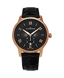 Alexander Watch A102-04, Stainless Steel Rose Gold Tone Case on Black Embossed Genuine Leather Strap