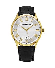 Alexander Watch A103-03, Stainless Steel Yellow Gold Tone Case on Black Embossed Genuine Leather Strap