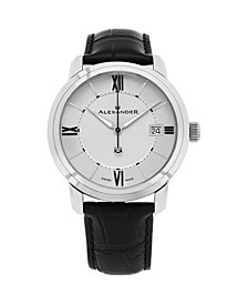 Alexander Watch A111-02, Stainless Steel Case on Black Embossed Genuine Leather Strap