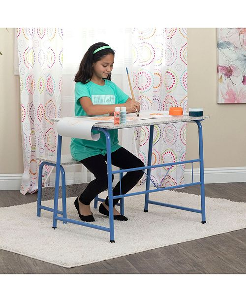 Remarkable Offex Project Center Kids Craft Table With Bench Blue Spatter Gray Gmtry Best Dining Table And Chair Ideas Images Gmtryco