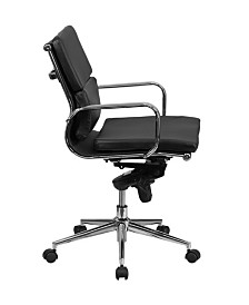 Offex Mid-Back White Leather Executive Swivel Office Chair With Synchro-Tilt Mechanism