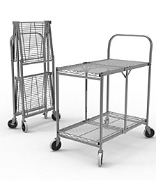 Two Shelf Collapsible Wire Utility Cart