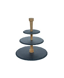 Slate & Oak Wood Cheese Serving Party Tower