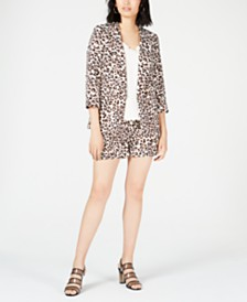 Bar III Leopard-Print Jacket, Strappy Blouse & Shorts, Created for Macy's