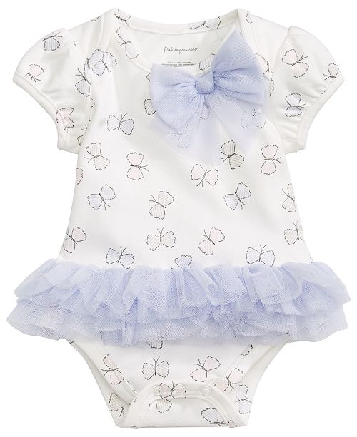 First Impressions First Impression's Baby Girl's Butterfly Tulle Bodysuit, Created for Macy's