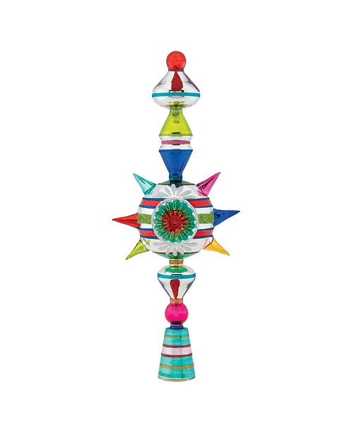 """Christopher Radko Christmas Confetti 13"""" Finial Stand With Reflector"""