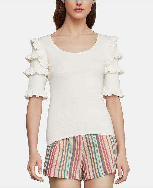 BCBGMAXAZRIA Ruffle-Sleeve Sweater