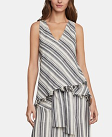 BCBGMAXAZRIA Striped Asymmetrical Top