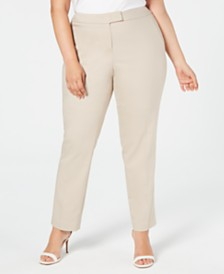 Anne Klein Plus Size Bowie Double-Weave Pants