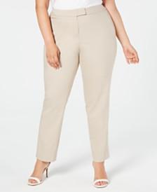 Anne Klein Plus Size Bowie Double-Weave Pants