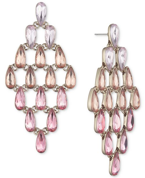 Givenchy Gold-Tone Pink Crystal Chandelier Earrings