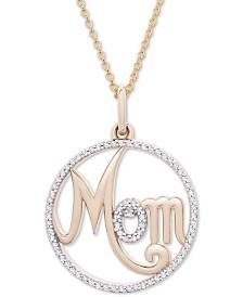 "Diamond ""Mom"" 20"" Pendant Necklace (1/6 ct. t.w.) in 14k Gold"
