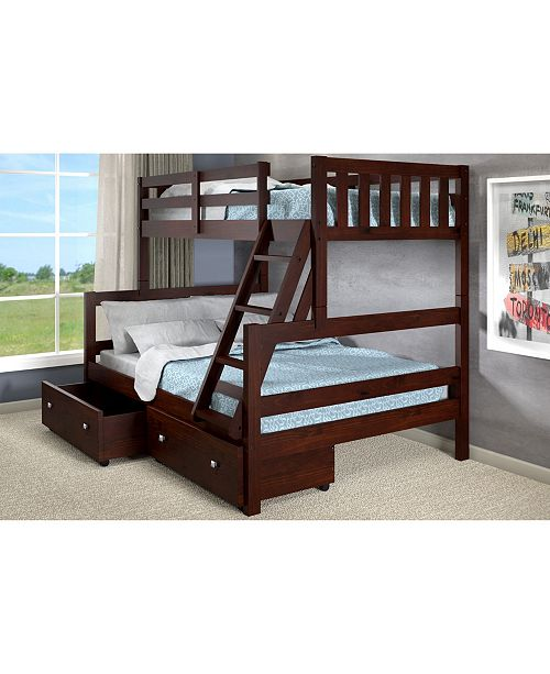 Donco Kids Twin Over Full Bunk Bed with Dual Underbed Drawers